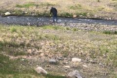 Carl making a dam